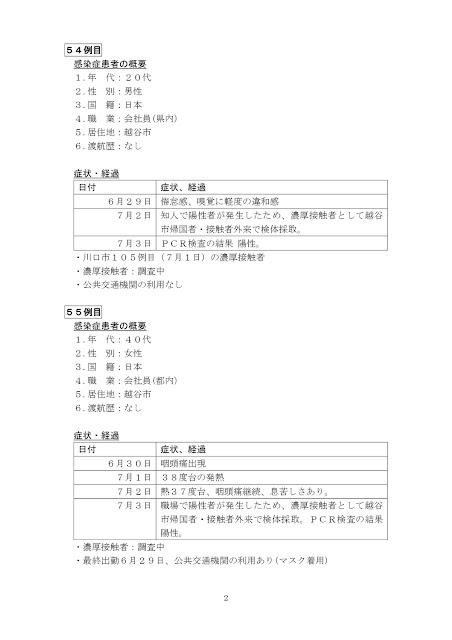 新型コロナウイルス感染症患者の発生について(7月3日発表)