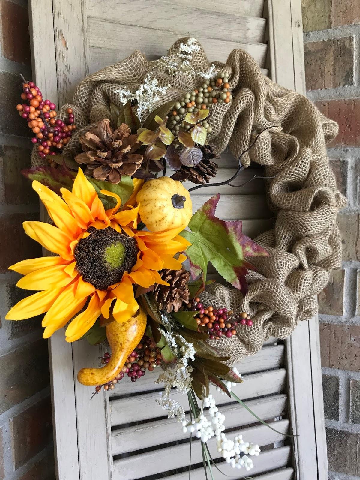 Clover House Dollar Tree Fall Burlap Wreath