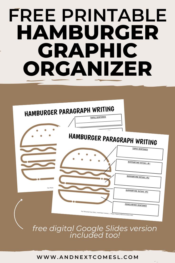 Free hamburger graphic organizer for paragraph writing