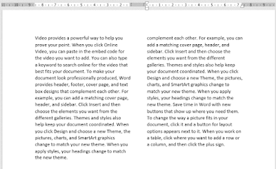 Columns in Layout Tab - ms word layout tab