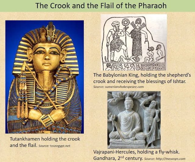 The Crook and the Flail held by the Egyptian Pharaoh was a symbol of Hecules-Balarama, the archetypal shepherd-king of the ancient times