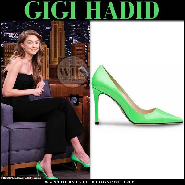 a1153ab6df4 Gigi Hadid wears bright neon green patent Prada pumps on The Tonight Show  February 2019