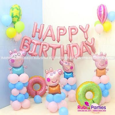 set bong trang tri sinh nhật chủ đề tuổi lợn SBL475