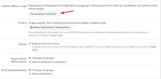 Indirizzo email gruppo Facebook