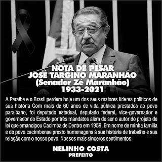 Em Cacimba de Dentro prefeito Nelinho Costa, lamenta morte do senador paraibano José Maranhão