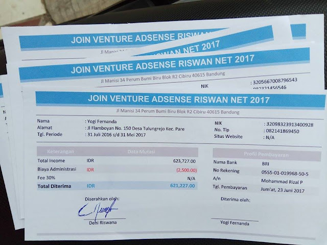 Kerjasama JV AdSense Terpercaya Bersama Riswan.net