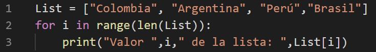 Bucle for para leer listas en Python