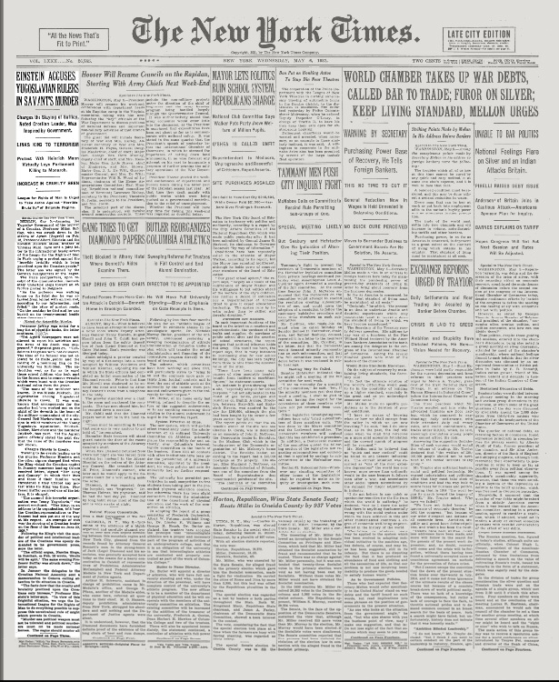 New York Times, May 5, 1931 edition cover