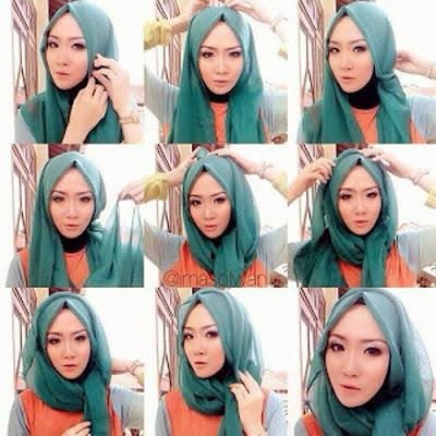 contoh tutorial hijab segi empat paris modern