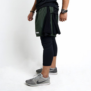 Compression short active green army