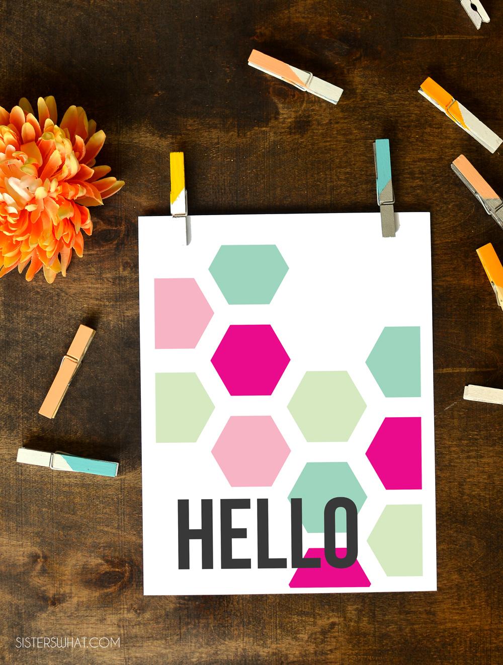 Hexagon Hello Printable