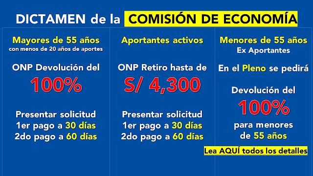 Comision de ECONOMIA Mayores de 55 años DEVOLUCION 100% y aportantes 4300 soles al PLENO del Congreso