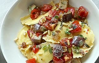 Agnolotti With Eggplant, Tomatoes And Garlic