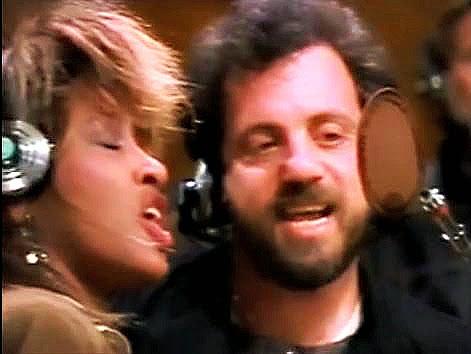 """Tina Turner & Billy Joel, na gravação de """"We Are the World"""""""