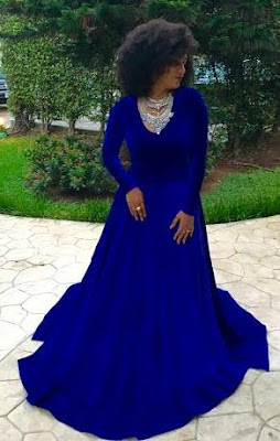Nigeria Actress Juliet Ibrahim look smart in her blue dress
