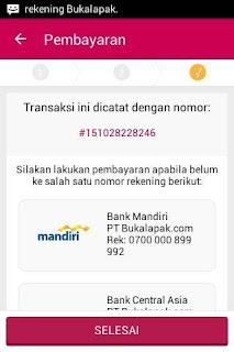Memilih metode transfer via bank mandiri