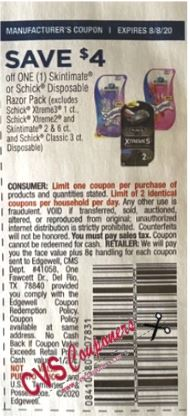 "$4.00/1-Schick Hydro or Skintimate Disposable Razors Coupon from ""SMARTSOURCE"" insert week of 7/19/20.-limit 2"