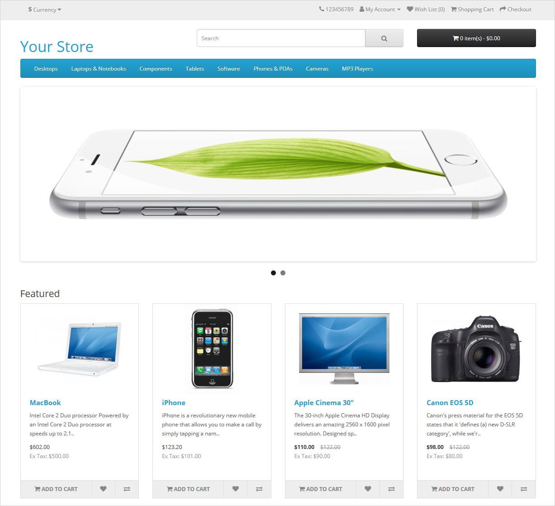 الواجهة الرئيسية للمتجر الإلكتروني منصة أوبن كارت