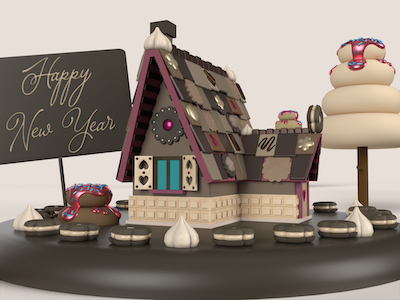 3D Gingerbread house on chocolate background