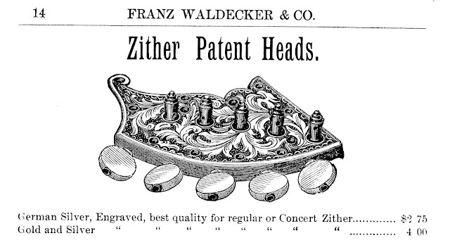 1890 zither heads by Franz Waldecker & Co.
