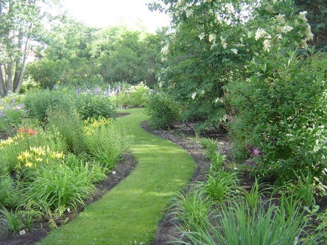 Grassy pathways through flower beds