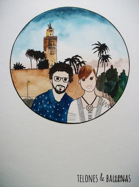 viaje marrakech pareja retrato souvenir recuerdo