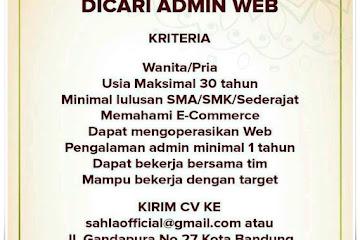 Lowongan Kerja Admin Web Sahla Official Bandung