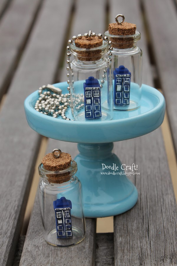 Doodlecraft Doctor Who Tardis In A Bottle Necklace