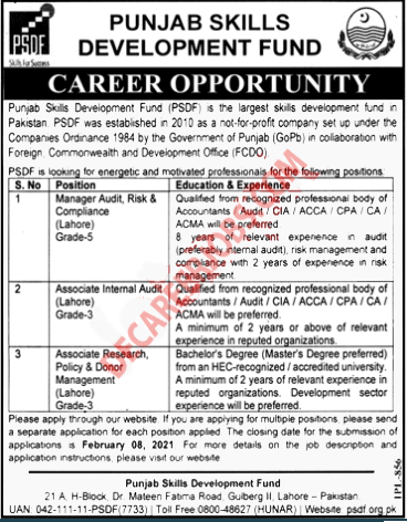 Govt Jobs in Lahore 2021