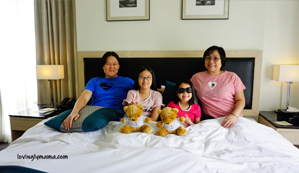 Seda Atria premier room review - Iloilo City - Iloilo hotels - Seda hotels - Philippines hotels - Bacolod blogger - Bacolod mommy blogger- family travel - homeschooling in  Bacolod - living room - Sedy bear - family portrait