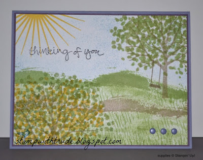 Stampin' Up! Sheltering Tree, Trude Thoman, http://stampwithtrude.blogspot.com , greeting card, scenic, scenery