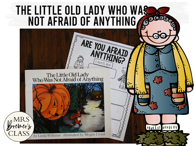 The Little Old Lady Who Was Not Afraid of Anything book study activities with Common Core aligned literacy activities and a craftivity for Halloween in Kindergarten and First Grade