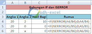 gabungan rumus ISERROR dan IF Excel