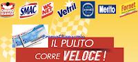 Logo Omino Bianco e '' Il Pulito corre veloce'' regalano buoni Ticket Compliments e Trenitalia