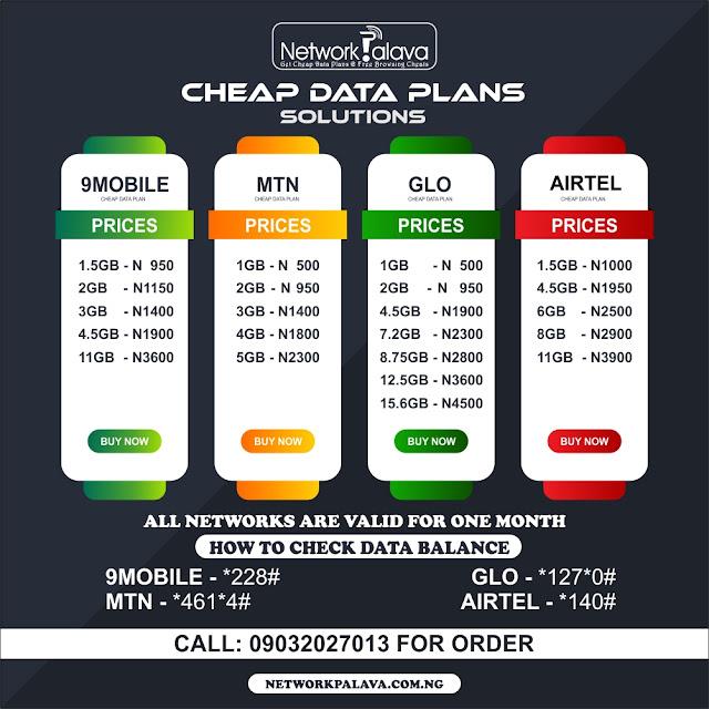 Best & Cheapest data plans on MTN, Airtel, Glo, 9mobile.