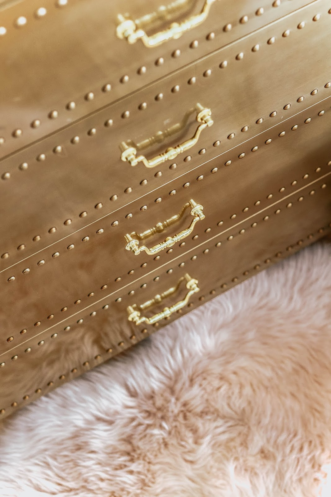 Luxury gold studded chest of drawers