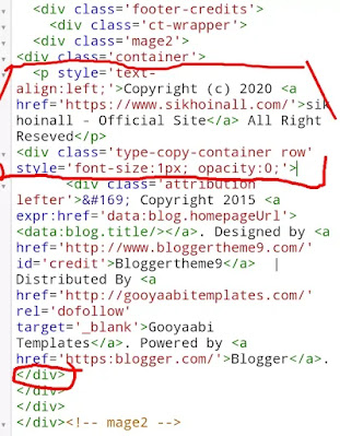 Blogger Free Custom Template से Copyright footer Credit Link हटाए? केवल 5 मिनट
