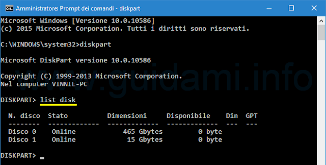 Windows Prompt dei comandi diskpart list disk