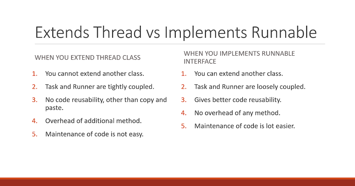 7 differences between extends Thread and implements Runnable in Java
