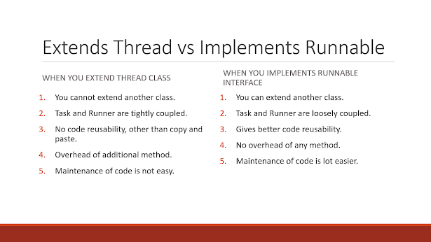 Difference between extending thread and implementing Runnable in Java
