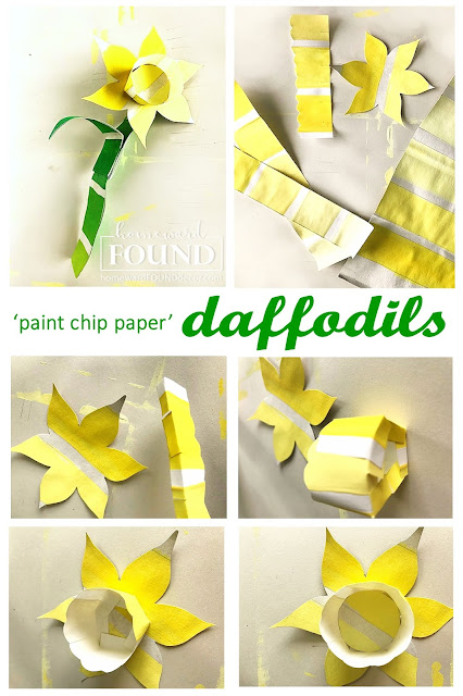 art class, color, color palettes, crafting, crafting with kids, decorating, DIY, diy decorating, Easter, flowers, paper crafts, paper, painting, re-purposing, spring, up-cycling, tutorial, spring decorating, crafts for kids, daffodils, paper daffodils