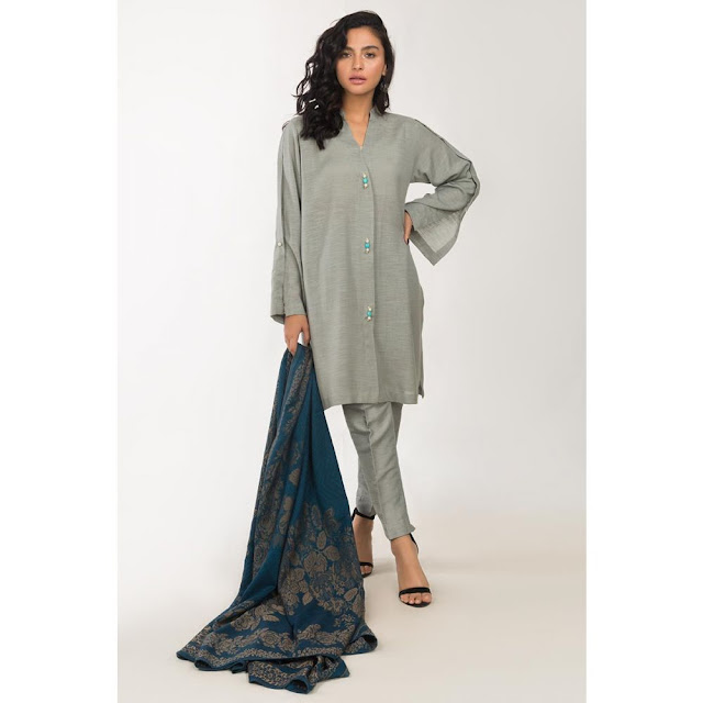 ready to wear light grey color viscose suit winter collection