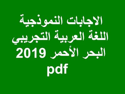 الاجابات النموذجية اللغة العربية التجريبي 2019 البحر الأحمر