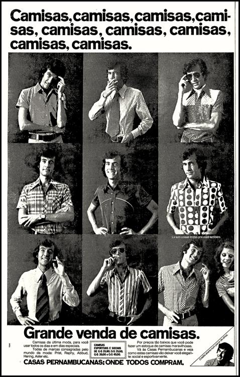 Campanha das Casas Pernambucanas para promoção de camisas em meados dos anos 70.