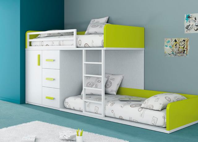 cama tren con camas y modulo de cajones para espacios pequeos