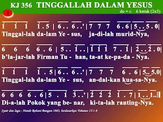 Lirik dan Not Kidung Jemaat 356 Tinggallah Dalam Yesus