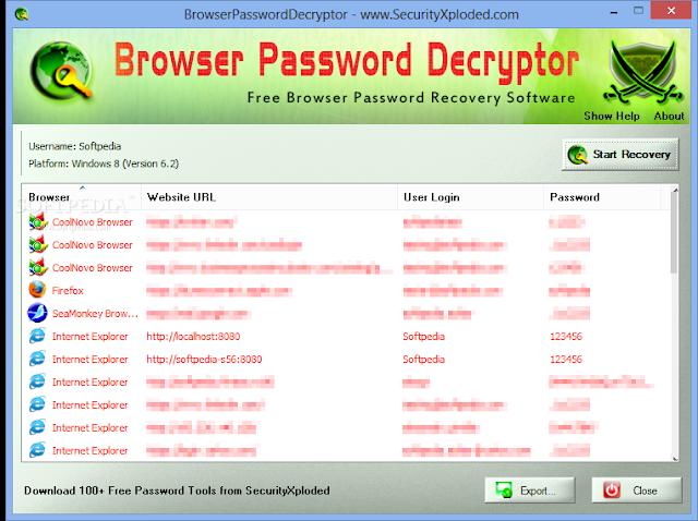 تحميل برنامج كشف كلمات المرور للكمبيوتر Browser Password Decryptor