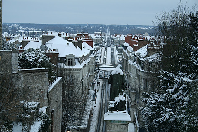 Vue du haut de l'escalier Denis Papin (Neige 05 février 2012)