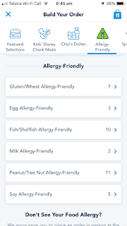 How to Order Gluten Free Meals on Disneyland Mobile Order - Red Rose Taverne Allergy Menus
