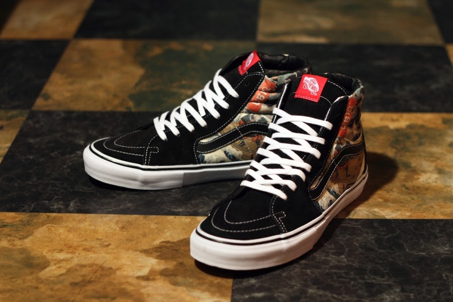 ca9dd031a3f03f ... Three Tides tattoo shop. The Vans Vault versions of the Era and the Sk8- Hi from the collection both feature your traditional dragon and samurai  fare